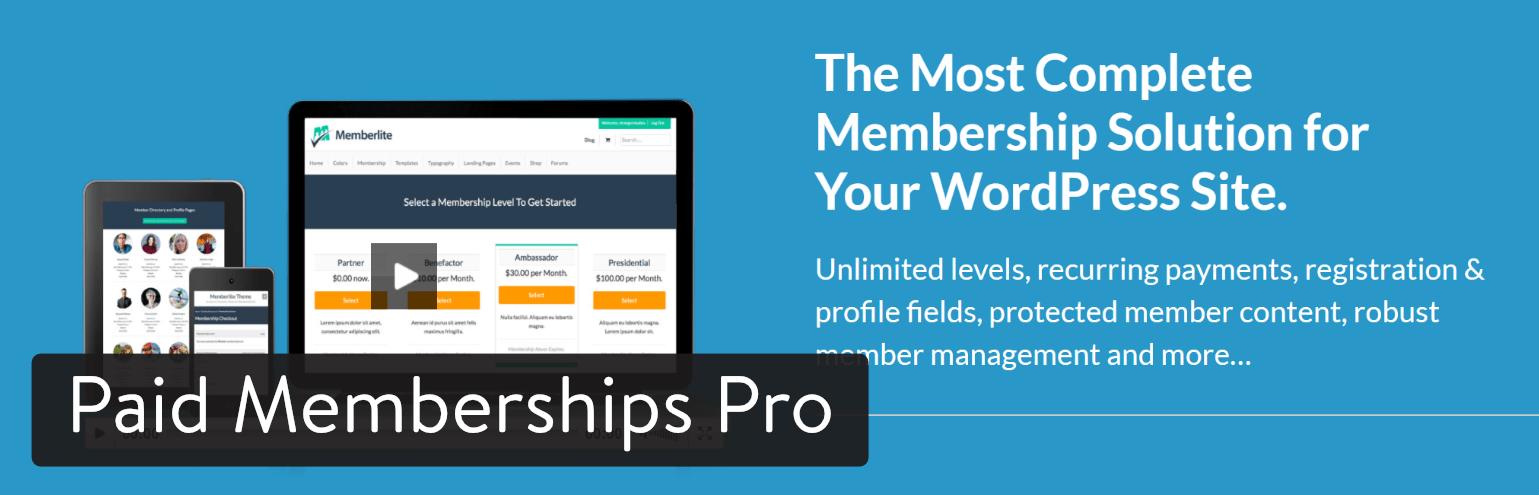 Paid Memberships Pro WordPress plugin